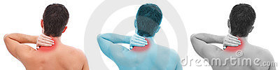 Man with neck pain collage