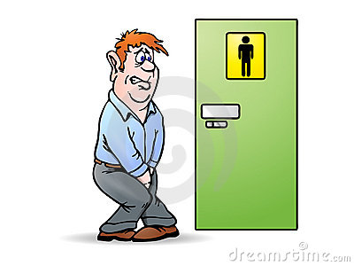 Conceptual illustration of a man need a pee waiting in front of ...