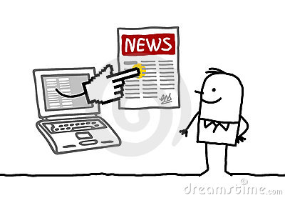 Man with news online
