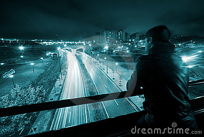 Man in night urban scene