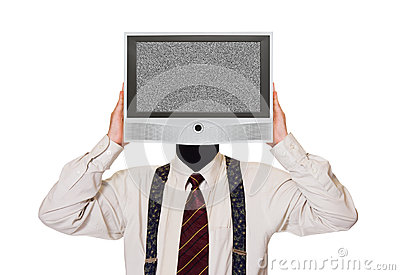 Man with noisy tv screen for head