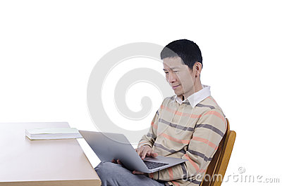 Man use laptop connect internet