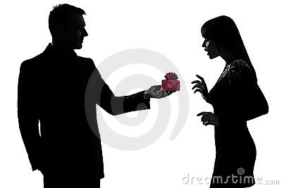 Man offering present gift and woman happy