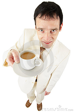 Man offers a cup of coffee