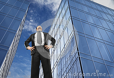 Man and office buildings