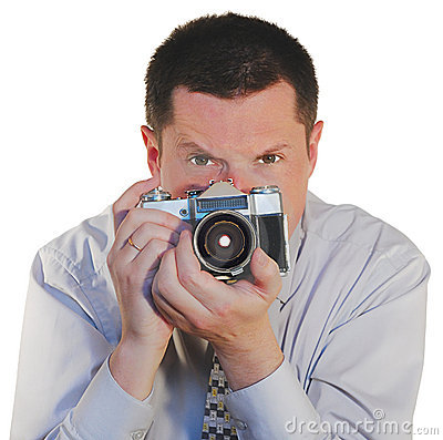 Man with a old photo camera