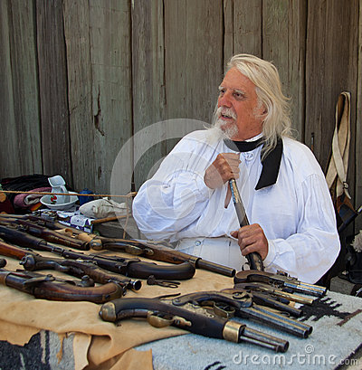 Man with old pistols at Fort Ross 200 annivercary Editorial Image