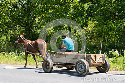 Man and old wooden cart