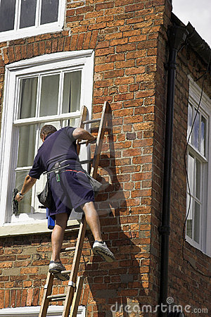 Free Man On A Ladder Royalty Free Stock Photos - 2831178
