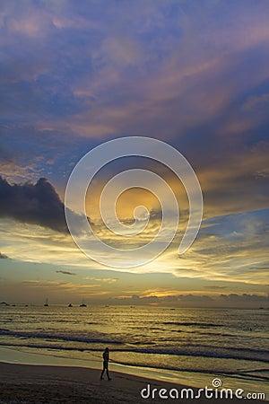 Free Man On Beach At Sunset Costa Rica Stock Photo - 34069780