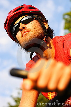 Free Man On Mountain Bike Royalty Free Stock Image - 10219646