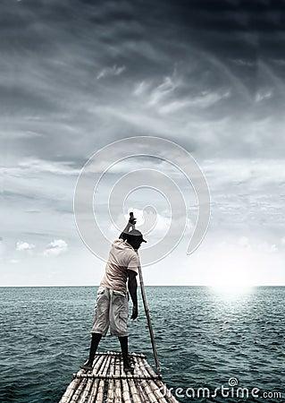 Free Man On Raft Royalty Free Stock Image - 18235076