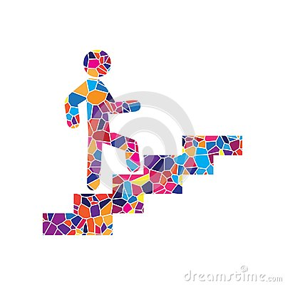 Free Man On Stairs Going Up. Vector. Stained Glass Icon On White Back Stock Photography - 122140592