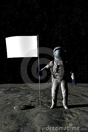 Free Man On The Moon (Blank Flag) Royalty Free Stock Photos - 4725598