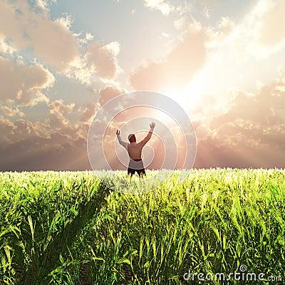 Free Man On Wheat Field At Sunrise Stock Photography - 21013882