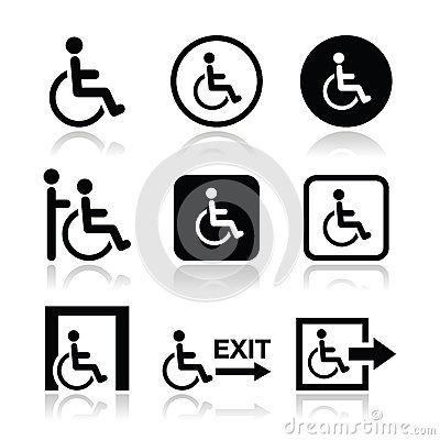 Free Man On Wheelchair, Disabled, Emergency Exit Icon Royalty Free Stock Photos - 32027578