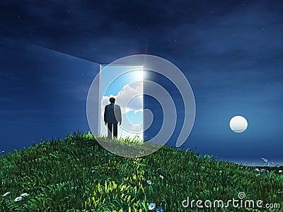 Man before open door to heaven