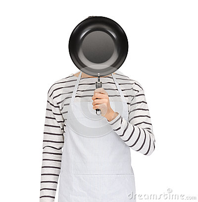 Free Man Or Cook In Apron Hiding Face Behind Frying Pan Royalty Free Stock Images - 55186369