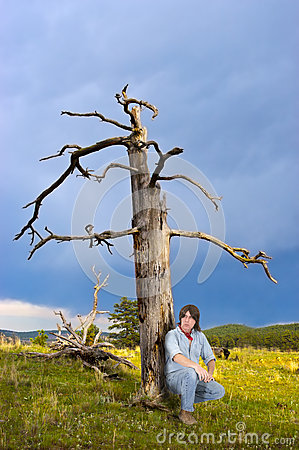 Man Outdoors in Wild Sit in Nature Mountain Meadow