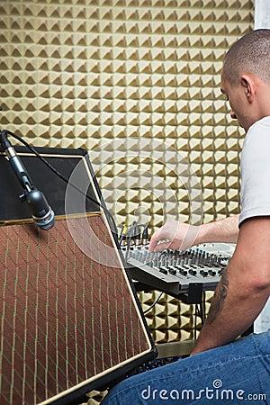 Man over mixer board
