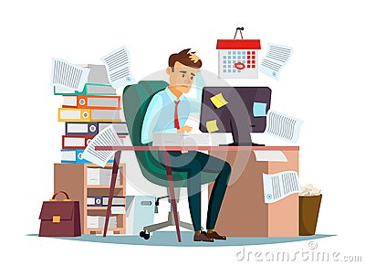 Man overwork in office vector illustration of cartoon manager sitting at computer desk working frustrated in stress Vector Illustration