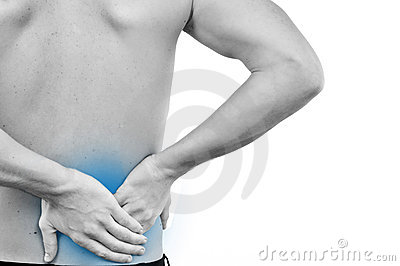 man with pain in a back