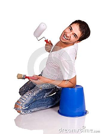 Man with paintbrush.