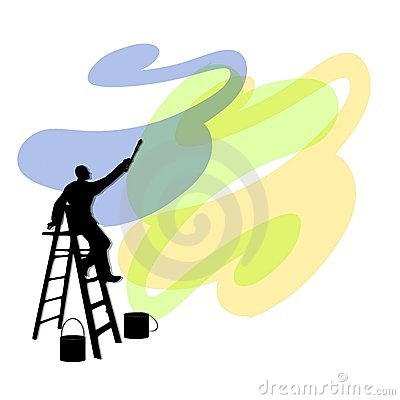 Man Painting Walls on Ladder