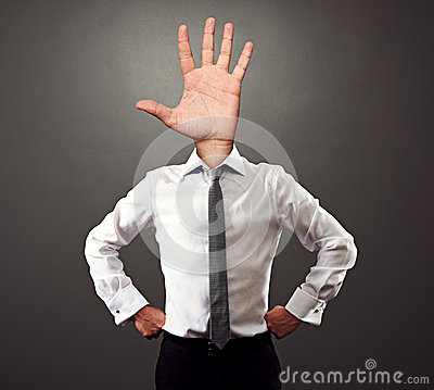 Man with palm hand gesture instead of the head