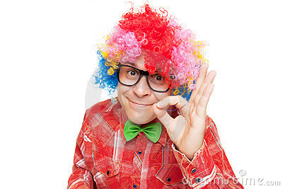 Man with party wig