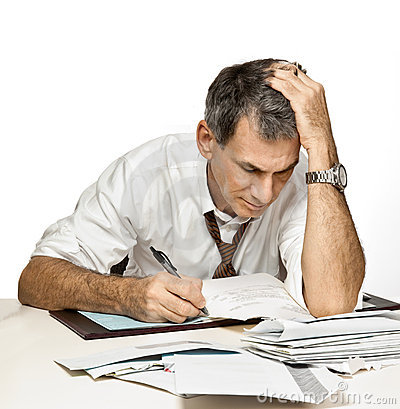 Free Man Paying Bills And Worrying Stock Photo - 11783020