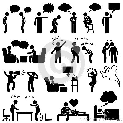 Man People Talking Thinking Joking Pictogram