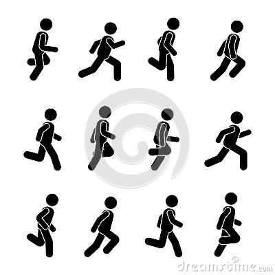 Man people various running position. Posture stick figure. Vector Illustration