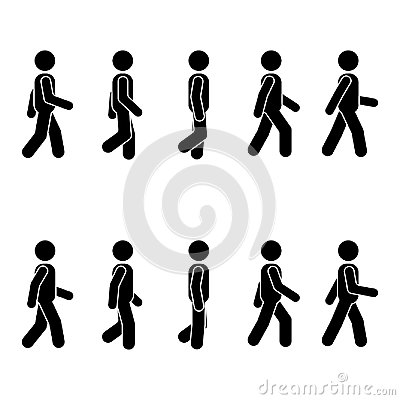 Man people various walking position. Posture stick figure. Vector standing person icon symbol sign pictogram on white. Vector Illustration
