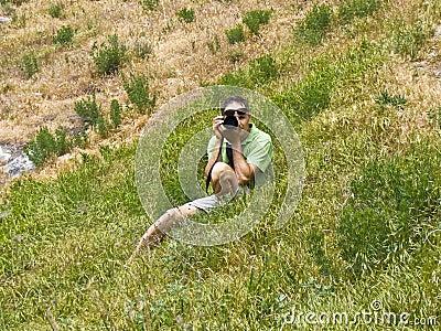 Man with photocamera