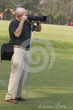Man photografer working