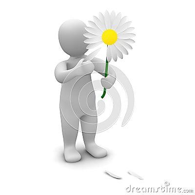 Man picking leafs of flower