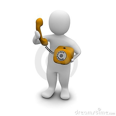Free Man Picking Up Orange Phone Stock Photo - 9754830