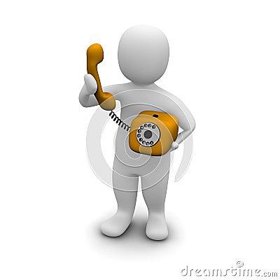 Free Man Picking Up Orange Phone Stock Photo - 9754830