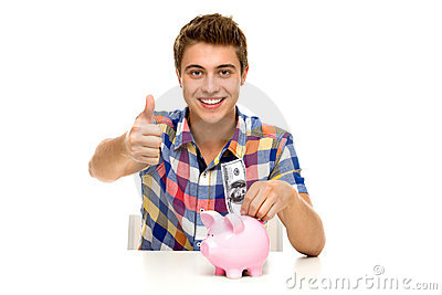 Man with piggy bank showing thumbs up