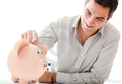 Man with a piggybank