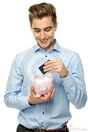 Man with piggybank and credit card
