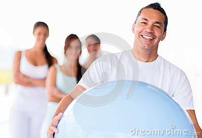Man with a Pilates ball