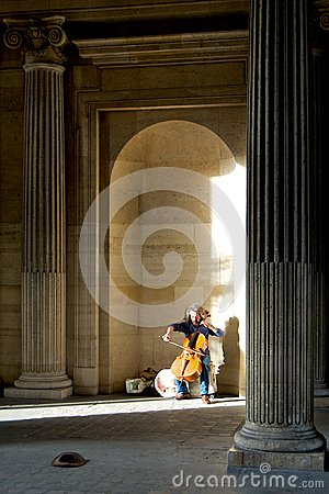 Man play cello for monet at the Louvre Editorial Stock Image