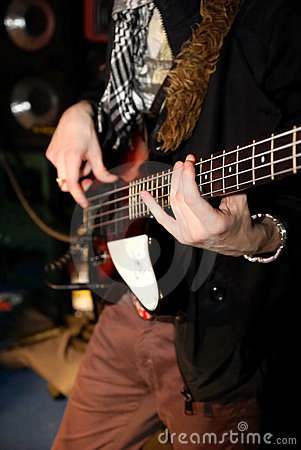 Man playing bass at the concert