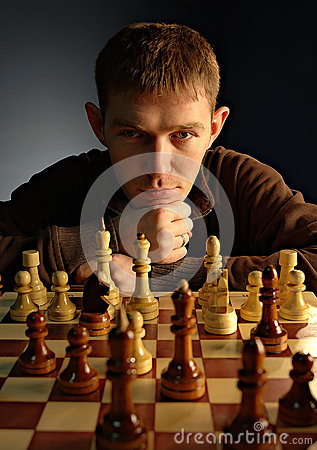 Free Man Playing Chess Stock Image - 42969091