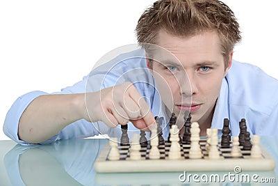 Man playing chess alone