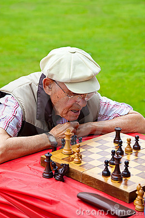 A man playing chess in  chess tournament in Santa Editorial Stock Photo