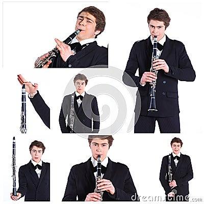 Free Man Playing On Clarinet. Stock Image - 39805041