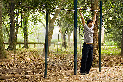 Man Playing With Park Bar - horizontal